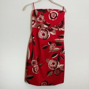 Sz 4 Floral Red Dress removable straps New York&Co